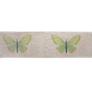 "Pack of 6 Beige and Green Butterfly Decorative Wired Jute Fabric Ribbon 3"" x 19.8 Yards"