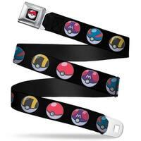 Pok Ball Full Color Black 4 Pok Balls Black Webbing Seatbelt Belt Fashion Seatbelt Belt