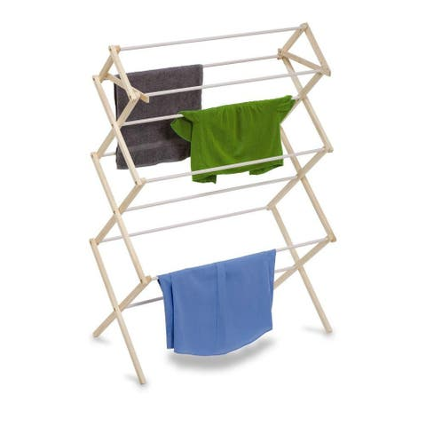 Honey-Can-Do DRY-01174 Deep Wooden Knockdown Clothes Drying Rack, Large, 29'