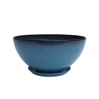 The Your Choice Small Gardens Ceramic Glaze Resin Pot for Patio, Garden, and Indoor Planter. 10-inch Diameter, Blue