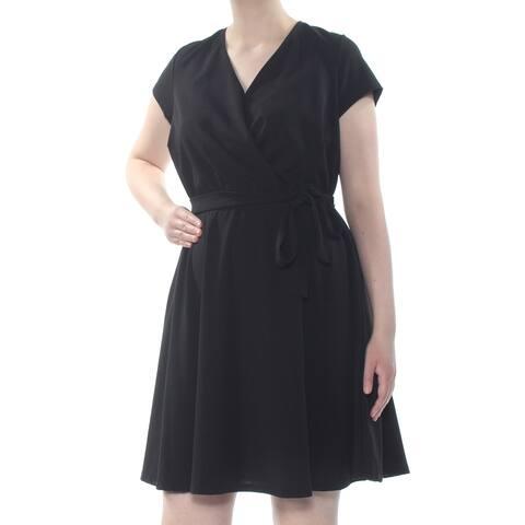 LOVE SQUARED Womens Black Short Sleeve V Neck Above The Knee Evening Dress Juniors Size: 2X
