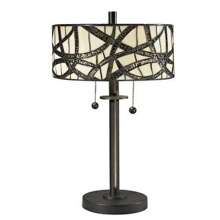 """19.5"""" Circular Shade Dark Bronze Willow Cottage Hand Rolled Art Glass Table Lamp"""