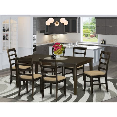 7 Pc Kitchen Set - Dining Table With 6 Dining Chairs Cappuccino Finish