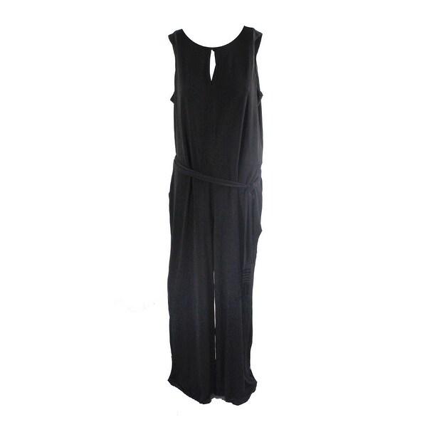 1c6a2df593a Shop Lauren Ralph Lauren Plus Size Black Jersey Wide-Leg Jumpsuit 2X ...