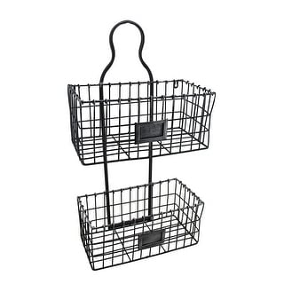 2 Tier Blackened Silver Wall Mounted Metal Wire Basket