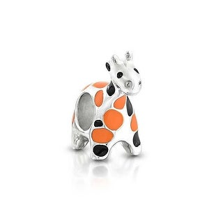 Bling Jewelry 925 Sterling Silver Orange Black Giraffe Animal Bead Charm