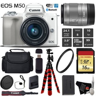 Canon EOS M50 Mirrorless Digital Camera (White) with 15-45mm Lens + Flexible Tripod + UV Protection Filter - Intl Model
