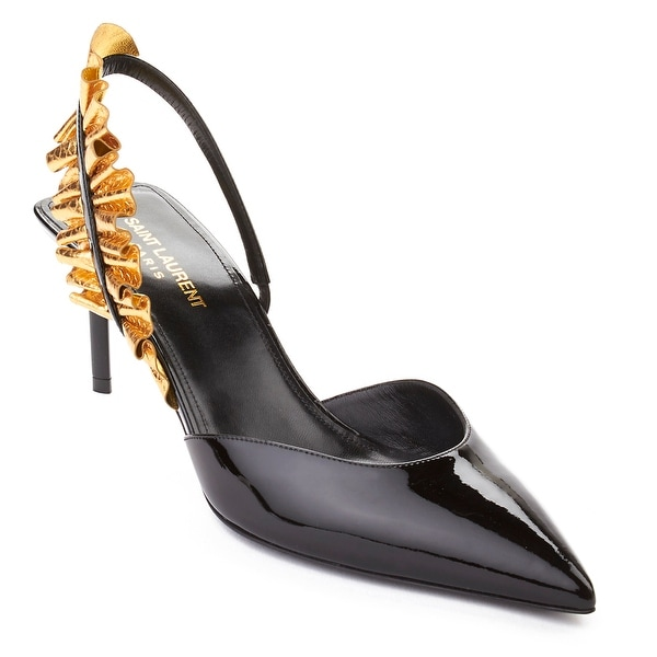 Saint Laurent Women's Edie Slingback Patent Leather High Heel Shoes Black