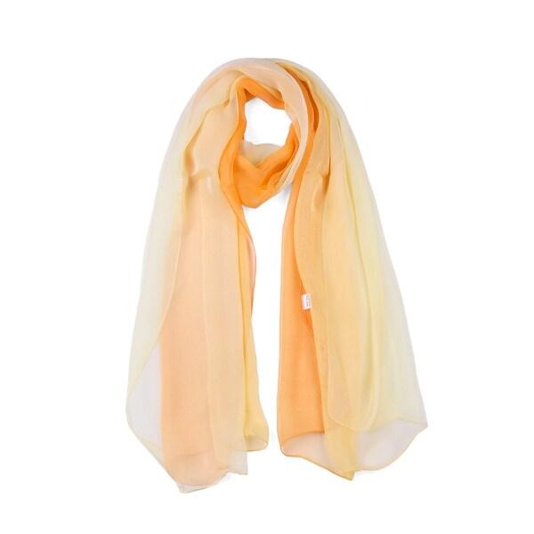 Long Chiffon Lightweight Gradient Color Scarf For Women Orange