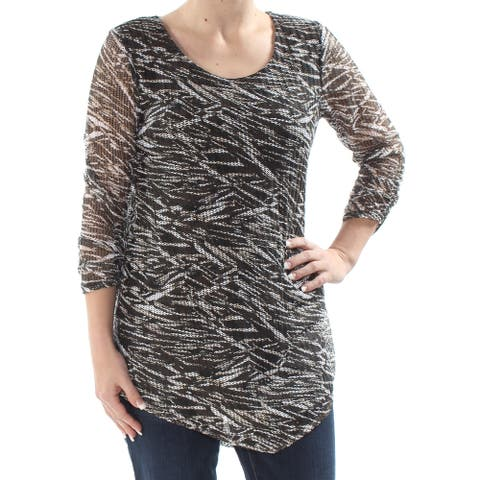 STYLE & CO Womens Black Printed 3/4 Sleeve Blouse Top Size S