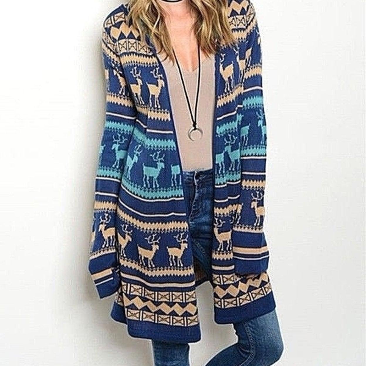 sizes S//M//L Women/'s Aztec Open Knit Top Sweater Cardigan Blue//Burgundy