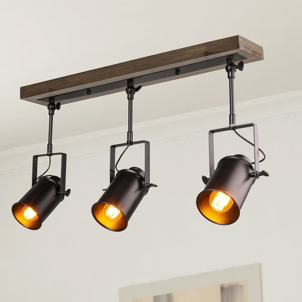 The Gray Barn Hickory Place Black 3-lights Semi-Flush Mount Ceiling Track Spotlights Lighting for Living Room. Opens flyout.