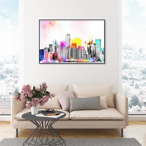 Oliver Gal 'Vibrant NY Bright Lights' Cities and Skylines Wall Art Framed Canvas Print United States Cities - Gray, Pink