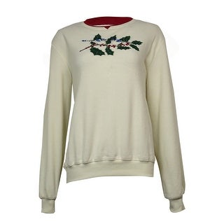 Alfred Dunner Women's Embroidered Blue Jay Fleece Sweater - Ivory