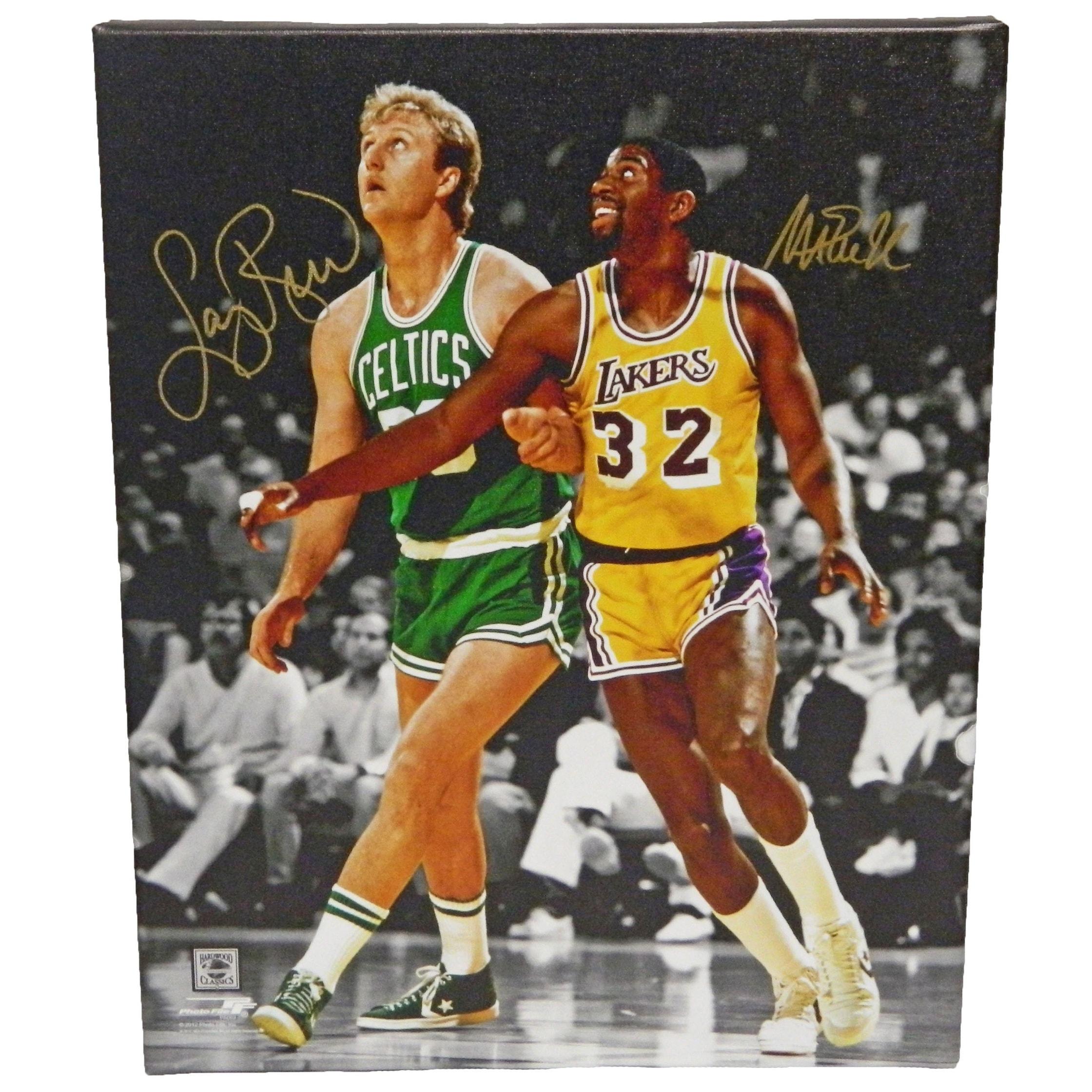 f0657e2d1c8fc Larry Bird Magic Johnson Dual Celtics vs Lakers NBA Action Spotlight 16x20  Canvas