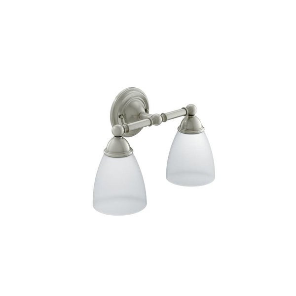 Shop moen yb2262 2 light bathroom sconce with frosted shades from the brantford collection for Moen brantford bathroom collection