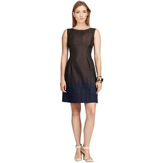 Elie Tahari Holly Leather Trim Cocktail Evening Sheath Dress - Multi