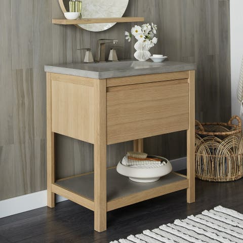 Solace Oak Vanity with Concrete Shelf (Base Only)