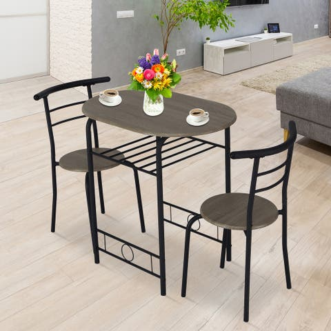 Kinbor 3 Pieces Dining Set, Space-Saver Table and Chair Set w/Metal Frame and Storage Shelf for Home Kitchen Dining Room balcony