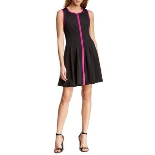 Betsey Johnson Contrast Stripe Front Zip Scuba Fit and Flare Dress Pink Black
