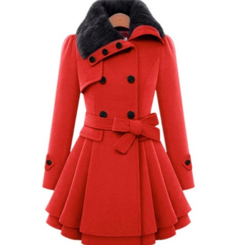 Womens Slim Trench Coats Fur Collar Peacoat Winter Woolen Coat Jackets Outwear