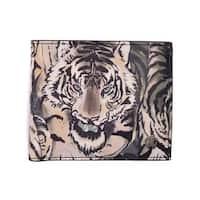 Roberto Cavalli Mens Tiger Black Green Canvas Bi Fold Wallet - S