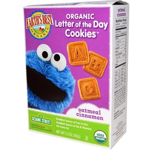 Earth's Best - Organic Sesame Street Letter Of The Day Oatmeal Cinnamon Cookies ( 6 - 5.3 OZ)