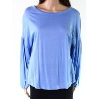 Doublee Zero Blue Womens Size Medium M Pleated Sleeve Knit Top