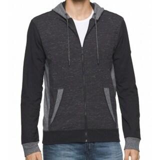 Calvin Klein NEW Black Space-Dye Mens Medium M Full Zip Knit Sweater