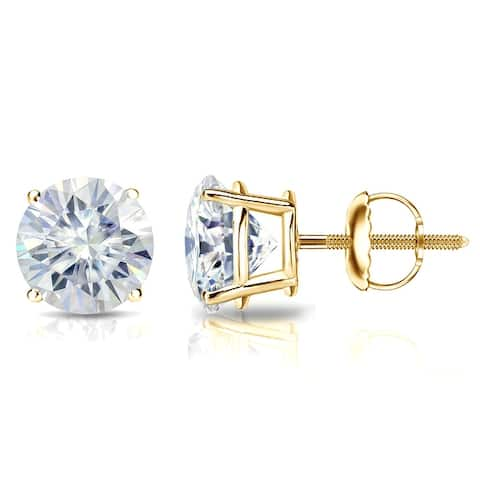 Auriya 2ctw Round Moissanite Stud Earrings 14k Gold 4-Prong Basket - 6.5 mm, Screw-Backs - 6.5 mm, Screw-Backs