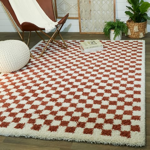 Covey Checkered Shag Area Rug