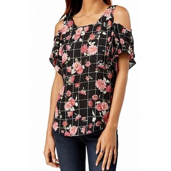 BCX Black Pink Size Large L Junior Floral Print Cold Shoulder Top