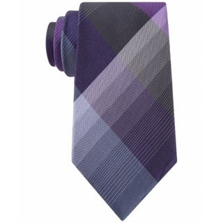 Kenneth Cole Reaction NEW Purple Men's Skinny Plaid Print Silk Neck Tie