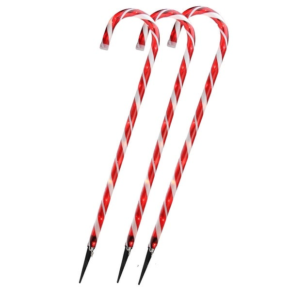 """Set of 3 Lighted Outdoor Shimmering Candy Cane Christmas Lawn Stakes 28"""" - RED"""