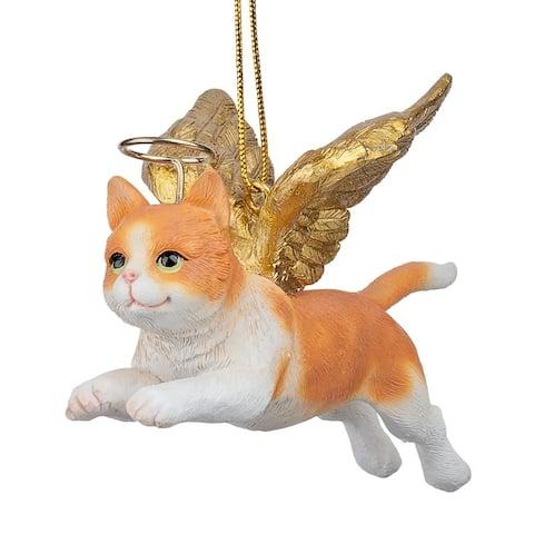 Design Toscano Honor the Feline: Orange Tabby Holiday Cat Angel Ornament