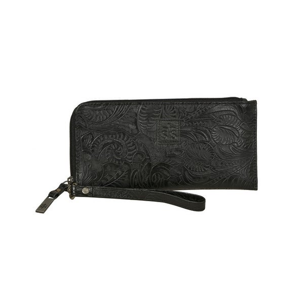 STS Ranchwear Western Wallet Womens Floral Zipper O/S Black - One size