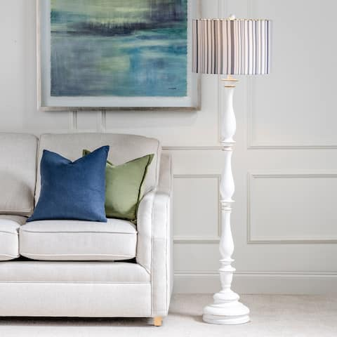 "Maribelle 65""H Distressed White Resin Multi Stripe Floor Lamp - 65""H x 17""Rnd"