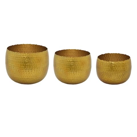 Plutus Brands Metal Planter in Gold Metal Set of 3