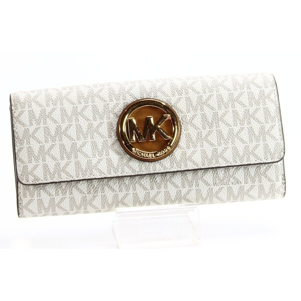 Michael Kors NEW White Ivory Gold Fulton Signature MK Envelope Wallet