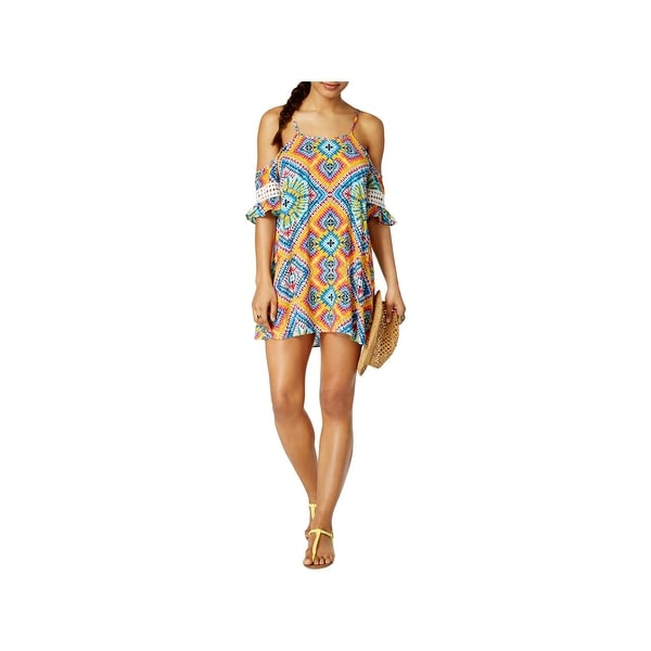 5f5046f745eb8 Shop Jessica Simpson Womens Tie-Dye Off-The-Shoulder Dress Swim Cover-Up -  Free Shipping On Orders Over  45 - Overstock - 22383352