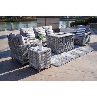 Upgrade and heighten 5-Piece Outdoor Wicker Patio Sofa Set ...