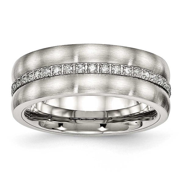 Stainless Steel Brushed and Polished CZ Ring (7.5 mm)
