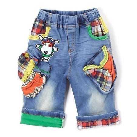 Rock'nStyle Baby Boys Blue Italian Flag Colored Patch Denim Shorts