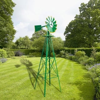 8FT Weather Resistant Yard Garden Windmill 2 Colors