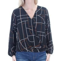 Womens Black Striped Long Sleeve V Neck Casual Faux Wrap Top  Size  6