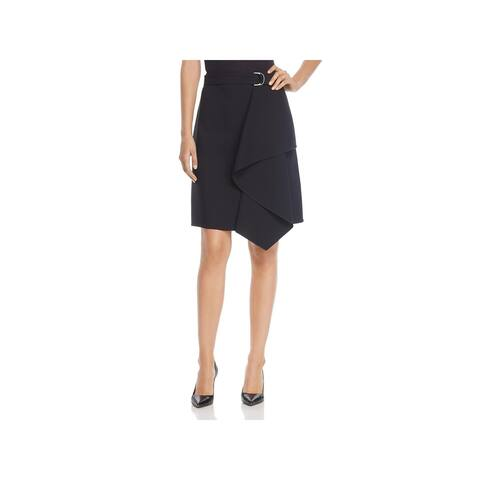 BOSS Hugo Boss Womens Mavea Pencil Skirt Asymmetrical Ruffle