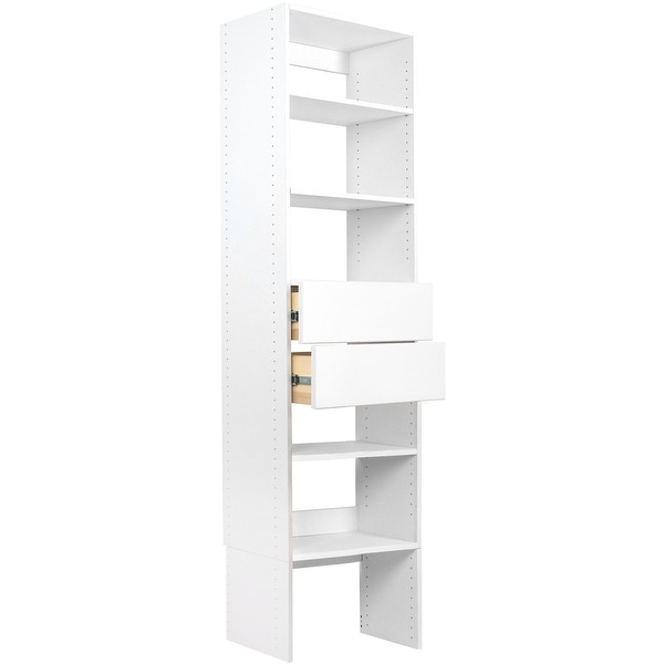 Modular Closets 2 Drawer Wood Shelf Tower Closet Organizer With 2 Solid Wood  Dovetail Drawers