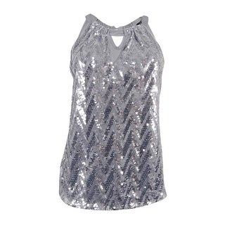 INC International Concepts Women's Sequin Halter Top (M, Silver) - Silver - m