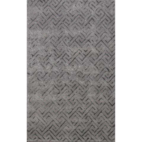 "Modern Trellis Wool/ Silk Oriental Home Decor Area Rug Hand-Tufted - 4'0"" x 6'0"""