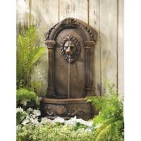 Zingz & Thingz 57070053 Lions Head Courtyard Outdoor Water Fountain with Submersible Pump